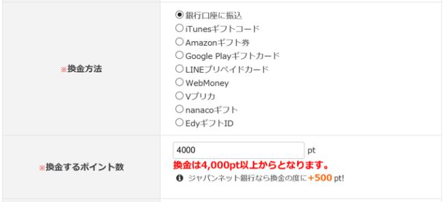 ジャパンネット銀行に換金でボーナスポイント