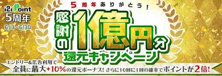 【i2iポイント5周年】感謝の1億円分還元キャンペーンの概要