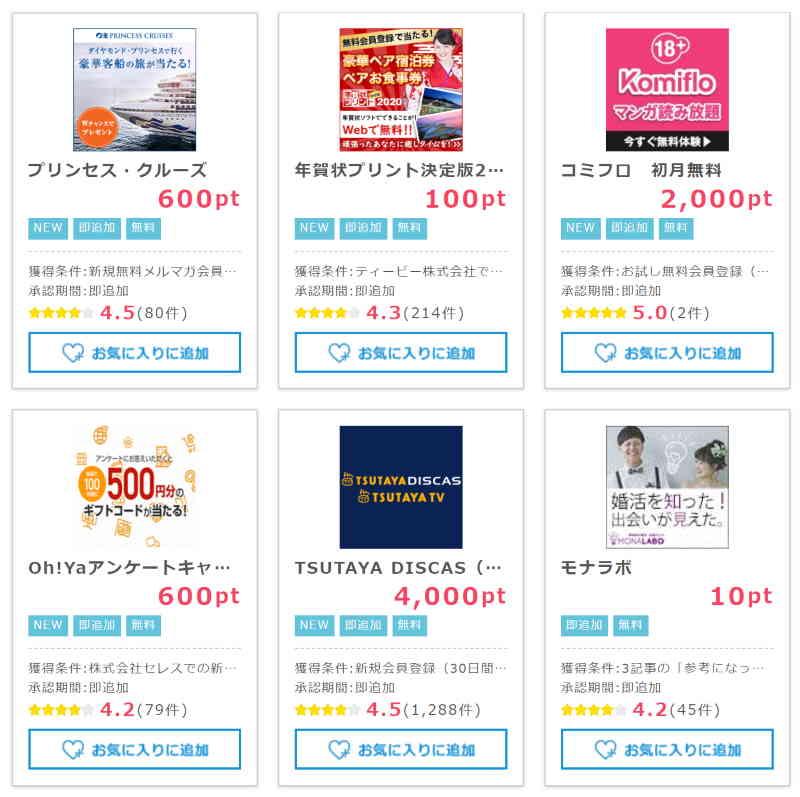 即ポイント獲得におススメの広告案件(2019.12.1現在)